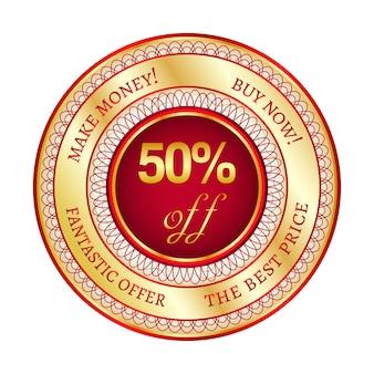 Autocollant ou étiquette rond rouge et or sur 50 pour cent de réduction