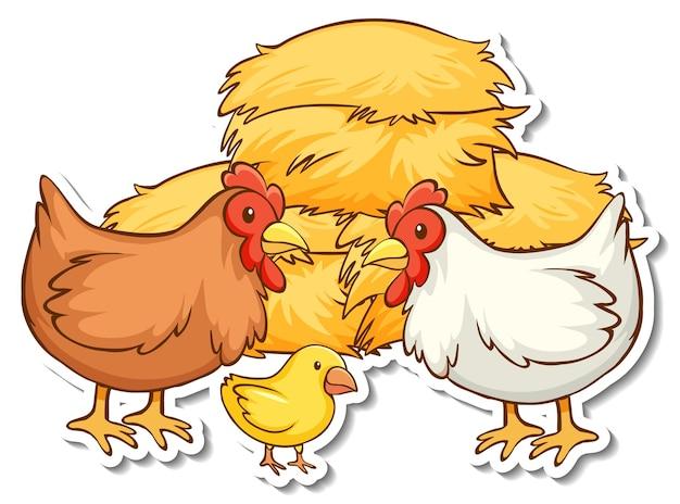 Autocollant famille poulet avec botte de foin