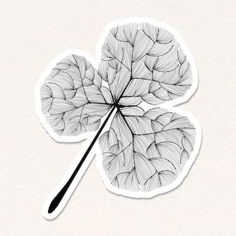 Autocollant feuille de trèfle noir doodle avec une bordure blanche