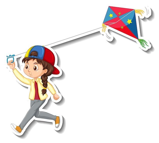 Autocollant une fille jouant le personnage de dessin animé de cerf-volant