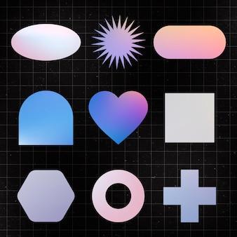 Autocollant de forme géométrique, clipart plat holographique couleur pastel set vector