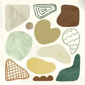 Autocollant de forme mignonne, texture terreuse dans la collection de vecteurs de conception de doodle