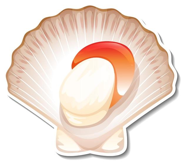 Autocollant de fruits de mer de pétoncles sur fond blanc