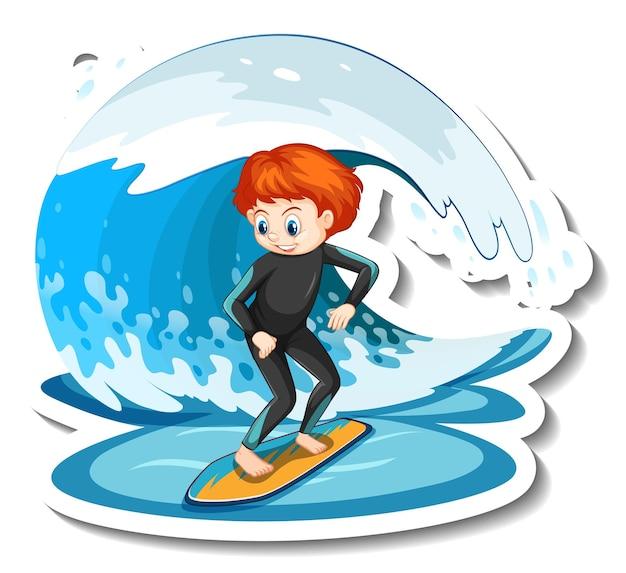 Autocollant un garçon sur une planche de surf avec une vague d'eau
