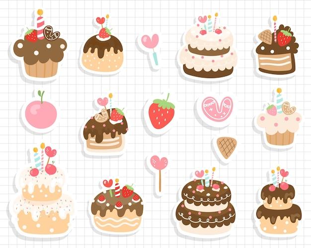 Autocollant de gâteau d'anniversaire, autocollant d'anniversaire