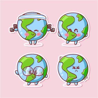 Autocollant de globe terrestre mignon et kawaii serti de diverses activités et expressions