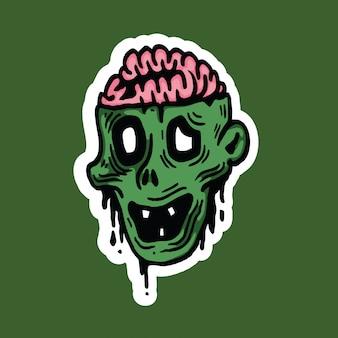 Autocollant d'halloween avec personnage de tête de zombie