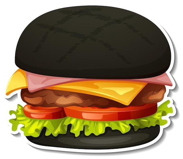 Autocollant hamburger au charbon sur fond blanc