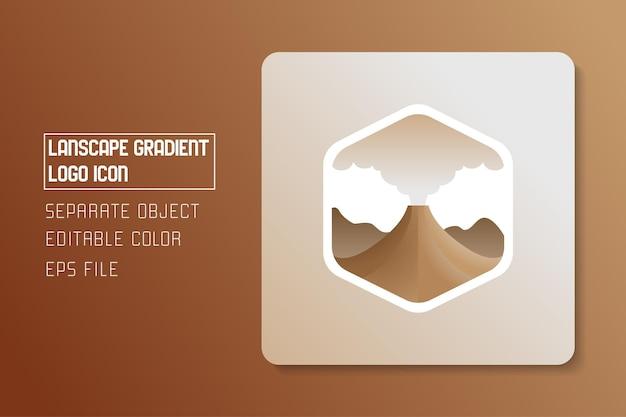 Autocollant d'icône de logo de dégradé de paysage de paysage de montagne