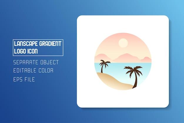 Autocollant d'icône de logo dégradé paysage paysage plage