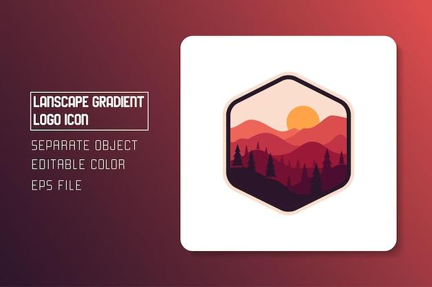 Autocollant d'icône de logo dégradé paysage paysage rouge