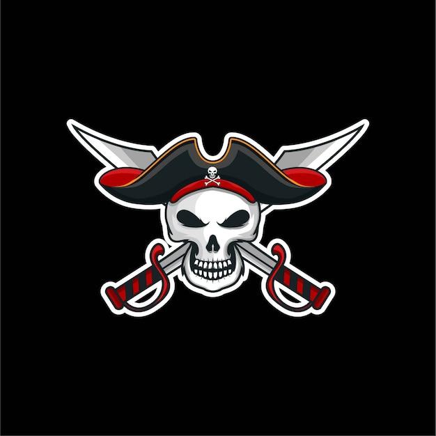 Autocollant d'illustration de logo tête de pirate crâne