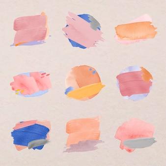 Autocollant d'insigne aquarelle, jeu de vecteurs de texture de trait de pinceau pastel