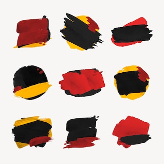 Autocollant d'insigne de pinceau de peinture, jeu de vecteurs de texture de coup de pinceau abstrait