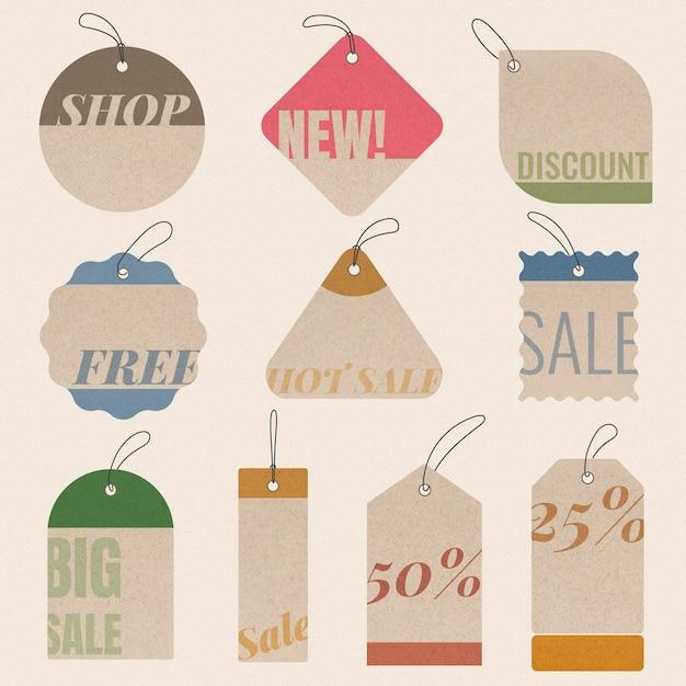 Autocollant d'insigne de vente, collection de cliparts commerciaux vectoriels