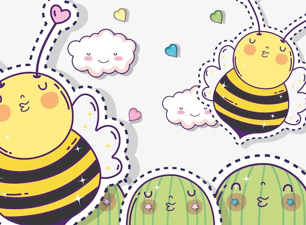 Autocollant kawaii cactus avec d'adorables abeilles et nuages