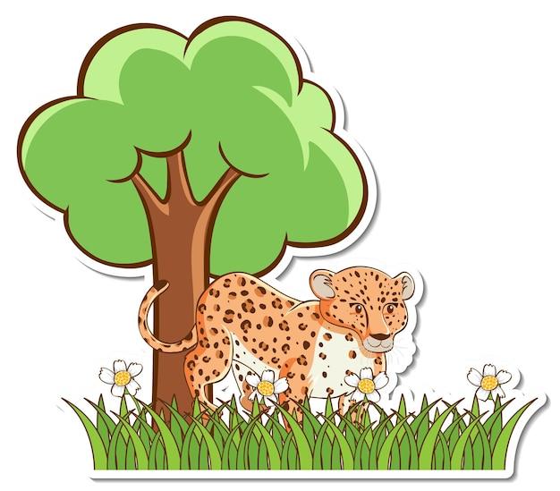 Autocollant léopard debout dans un champ d'herbe