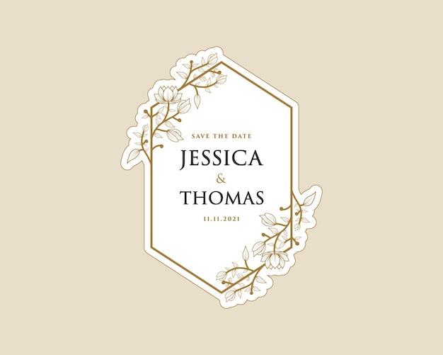 Autocollant de logo de couronne botanique féminine imprimable pour carte de mariage de boutique de salon de beauté de spa de bouquet