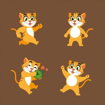 Autocollant de mascotte de personnage de chat