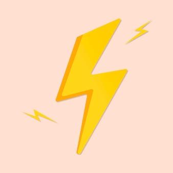 Autocollant mignon éclair, vecteur de clipart météo imprimable