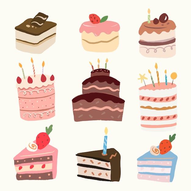 Autocollant mignon de gâteau de dessert, ensemble de vecteur graphique d'élément de boulangerie