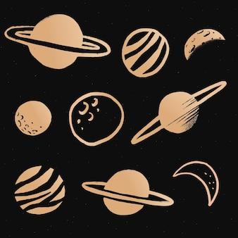 Autocollant mignon d'illustration de griffonnage de galaxie d'or de système solaire