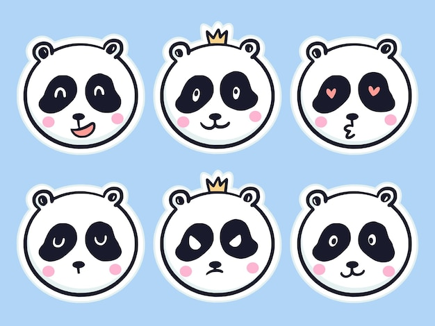 Autocollant mignon panda mis illustration de dessin animé