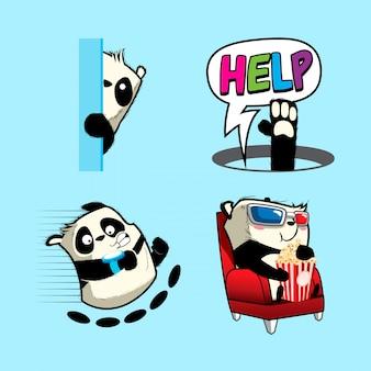 Autocollant mignon de pandas, patchs de pandas