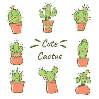 Autocollant mignon de personnage de cactus avec style doodle dessiné à la main