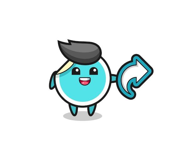 Un autocollant mignon tient le symbole de partage de médias sociaux, un design de style mignon pour un t-shirt, un autocollant, un élément de logo