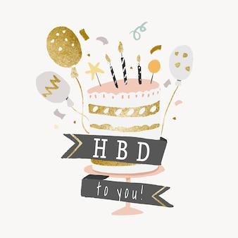 Autocollant de modèle de gâteau d'anniversaire, vecteur graphique d'élément esthétique d'or et de pastel