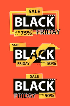autocollant de modèle de vente vendredi noir. convient pour une bannière ou une affiche, etc.