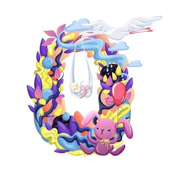 Autocollant de mois mignon avec des animaux pour bébé. fête de douche de bébé, autocollant de mois. numéro 0. bonne naissance. vecteur eps10.