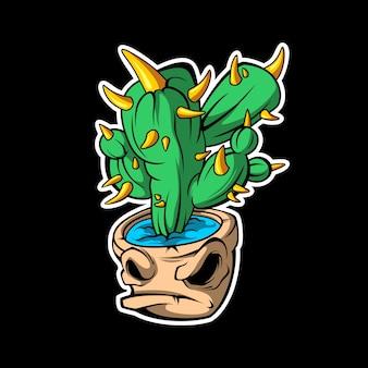Autocollant de monstre de cactus sur noir