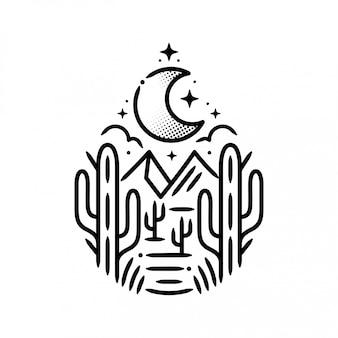Autocollant montagnes avec cactus et lune