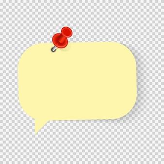 Autocollant de note de papier vide coloré avec épingle rouge pour le texte de bureau ou les messages commerciaux. illustration