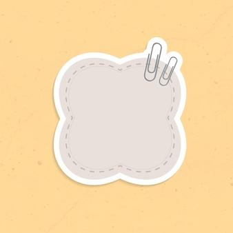 Autocollant note de rappel en forme de bulle grise