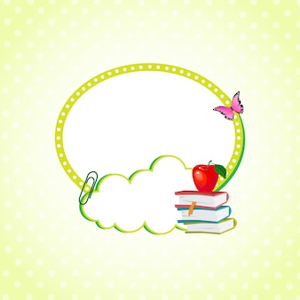 Autocollant nuage décoré avec des fournitures scolaires