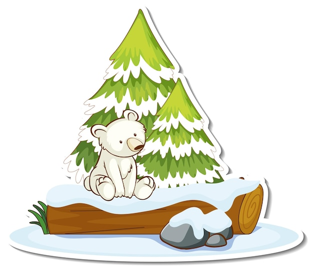Autocollant un ours polaire assis près d'un pin recouvert de neige