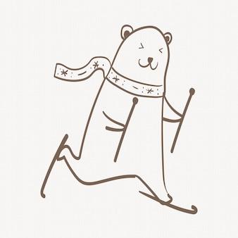 Autocollant d'ours polaire, griffonnage mignon de noël d'animal de snowboard dans le vecteur brun