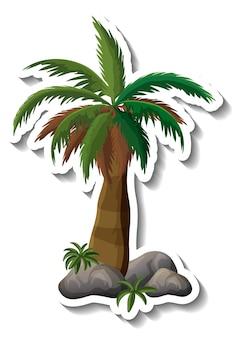 Autocollant palmier sur fond blanc