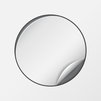 Autocollant en papier promotionnel rond blanc et blanc. illustration vectorielle