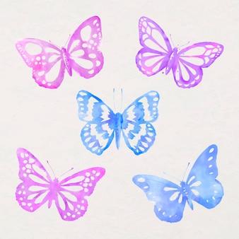 Autocollant papillon aquarelle, vecteur de timbre élément de conception