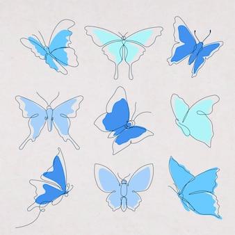 Autocollant papillon volant, jeu d'illustrations animales vectorielles art ligne bleue