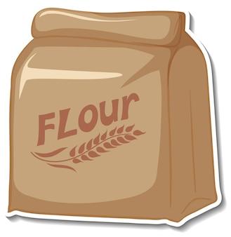 Autocollant de paquet de sac de farine sur fond blanc