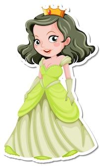 Autocollant de personnage de dessin animé belle princesse