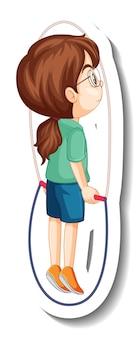 Un autocollant de personnage de dessin animé de corde à sauter de fille