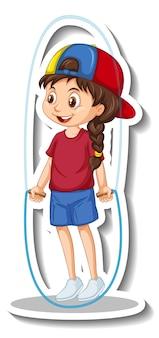 Autocollant de personnage de dessin animé avec une corde à sauter fille