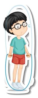 Un autocollant de personnage de dessin animé de corde à sauter de garçon