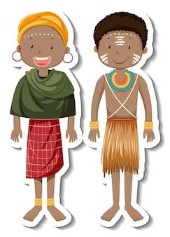 Autocollant De Personnage De Dessin Animé De Couple Tribal Africain Vecteur gratuit